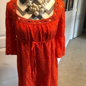 LAUNDRY Coral Lace Overlay Dress Bell Sleeves Sz L